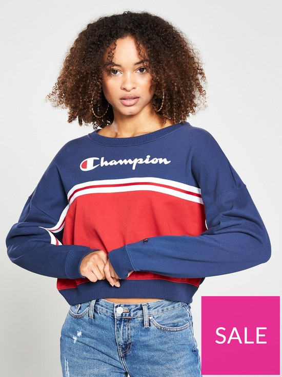 53935f71f0fc Champion Crew Neck Crop Top - Navy/Red | very.co.uk