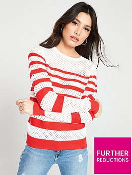 v-by-very-breton-stripe-mesh-panel-button-detail-jumper-multi