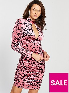 river-island-river-island-printed-bodycon-dress-pink