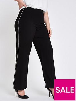 ri-plus-wide-leg-stripe-trouser-black