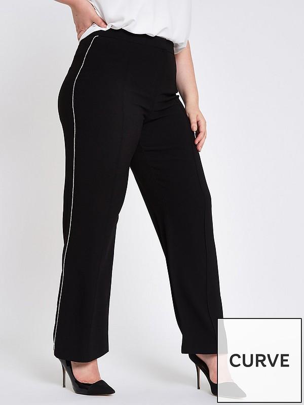 0cc6cb55c5c7c RI Plus Wide Leg Stripe Trouser - Black   very.co.uk