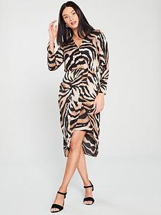river-island-river-island-wrap-front-tiger-print-midi-dress