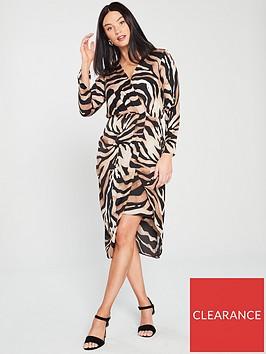 river-island-river-island-wrap-front-tiger-print-midi-dress