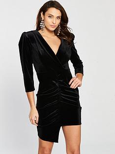 river-island-velvet-ruched-dress-black