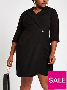 ri-plus-wrap-mini-dress-black