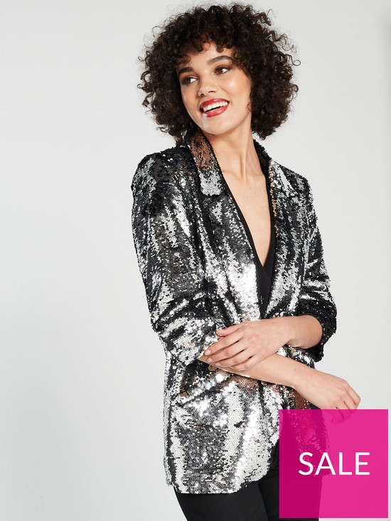 49c29b48 River Island Sequin Blazer - Silver | very.co.uk