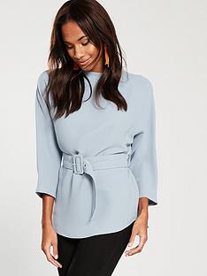 river-island-belted-woven-top-grey