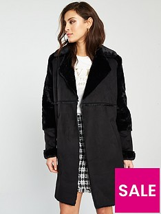 0ea54f186ba River Island Faux Fur Longline Jacket - Black