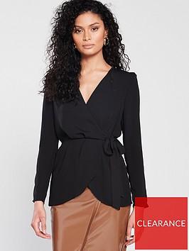 river-island-river-island-shoulder-pad-peplum-blouse-black