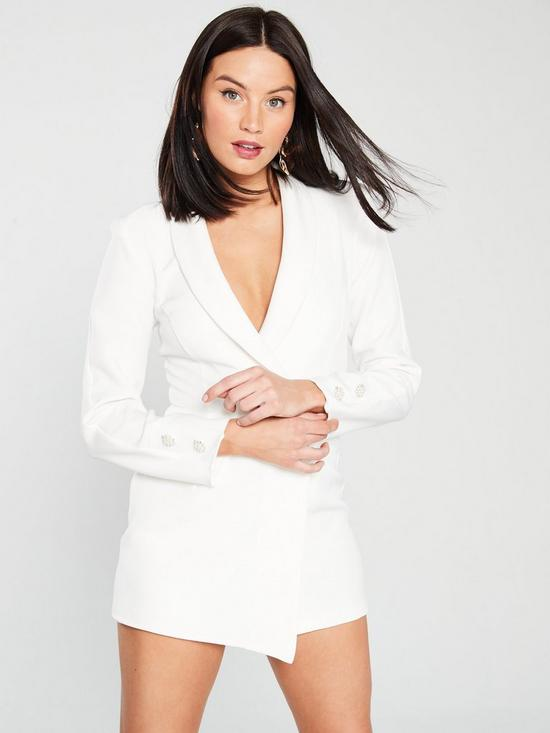 bccd4be44f River Island Tuxedo Playsuit - Ivory