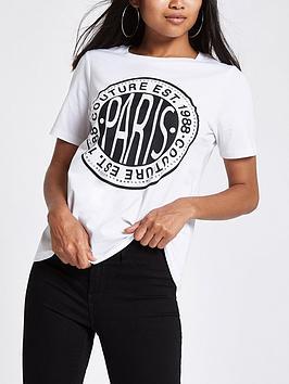 Ri Petite Couture Print T Shirt - White