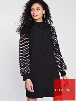 river-island-river-island-spot-sleeve-pussybow-dress-black