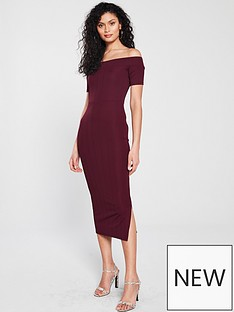 river-island-bardot-dress-dark-red