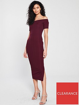 river-island-bardot-dress-dark-red