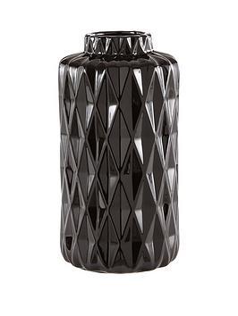 ideal-home-glazed-faceted-vase-black