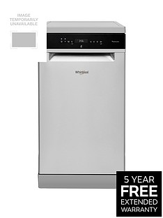 Whirlpool WSFO3T223PCX 10-Place Slimline Dishwasher with Quick Wash, 6th Sense and Power Clean Pro - Stainless Steel
