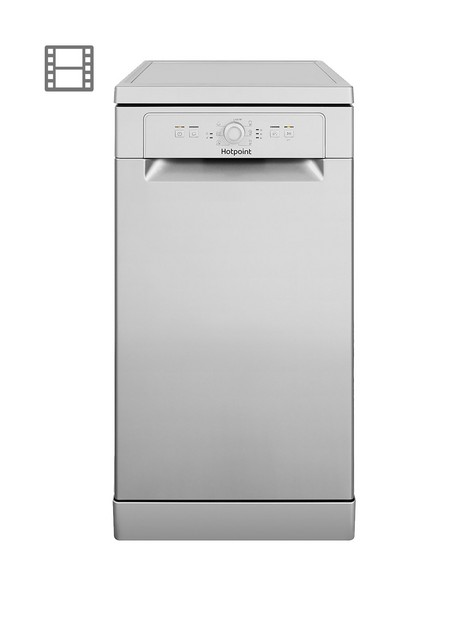 hotpoint-hsfe1b19sukn-10-place-slimline-dishwasher-with-quick-wash-silver