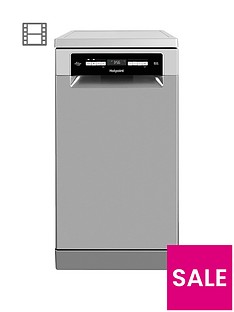 Hotpoint HSFO3T223WX 10-Place Slimline Dishwasher with Quick Wash and 3D Zone Wash - Inox