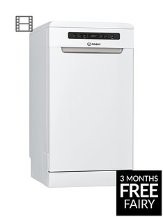 Indesit DSFO3T224Z 10-Place Slimline Dishwasher with Quick Wash and Baby Care - White