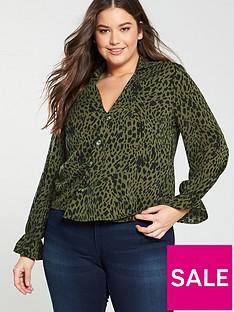 ca0b7707520 Girls On Film Curve Dalmatian Print Frill Sleeve Top - Khaki