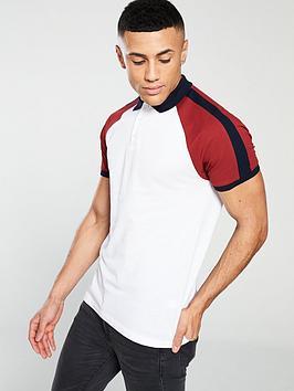 v-by-very-short-sleeved-raglan-pique-polo-whiterust