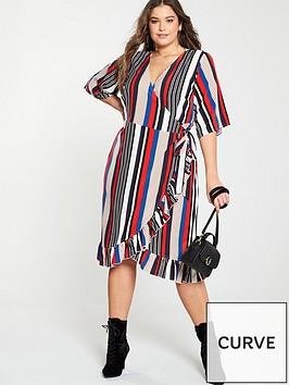girls-on-film-curve-stripe-midi-wrap-dress-with-frill-front-multi