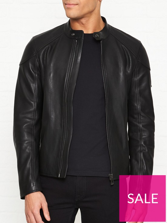a3abcd5ca71 Belstaff B - Racer Leather Jacket - Black | very.co.uk
