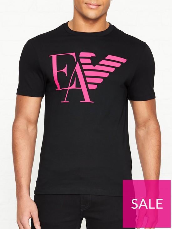 e4715ba1 EMPORIO ARMANI EA Half Eagle Printed Logo T-Shirt - Black   very.co.uk
