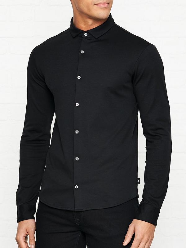 günstig kaufen 100% hohe Qualität Luxus-Ästhetik Slim Fit Jersey Shirt - Black