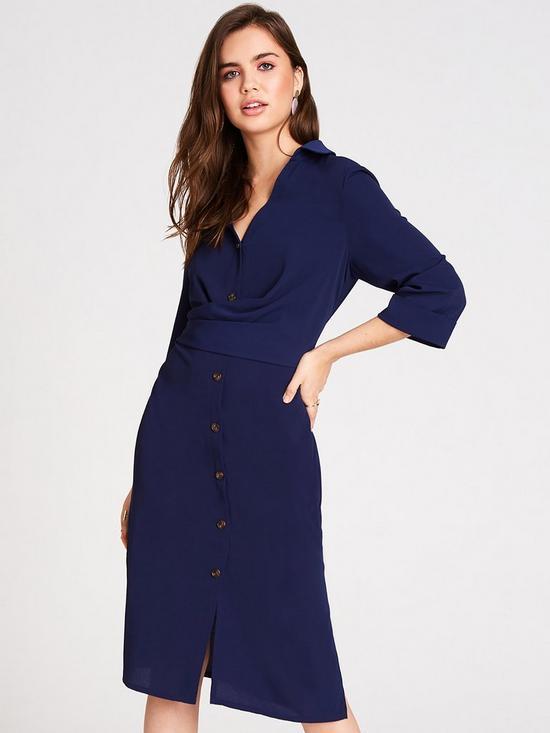 Button Up Wrap Shirt Dress