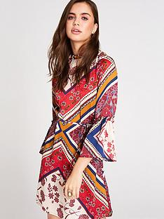 girls-on-film-scarf-print-frill-sleeve-self-belted-dress-multi