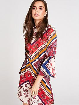 girls-on-film-scarf-print-frill-sleeve-self-belted-dress-multi