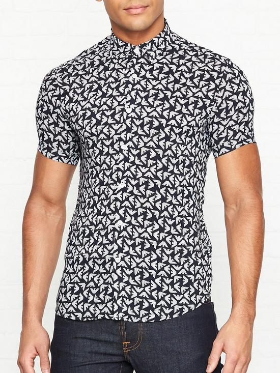 619696d8 All Over Eagle Logo Printed Short Sleeve Shirt - Navy
