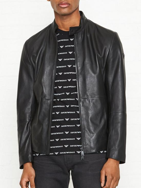 ad7e7c35a Leather Biker Jacket - Black