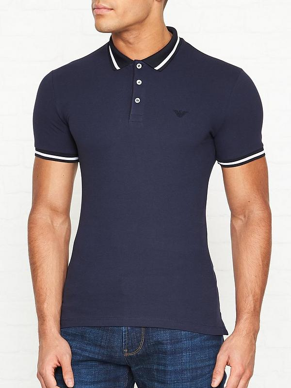e96b12fb Contrast Collar Polo Shirt - Navy