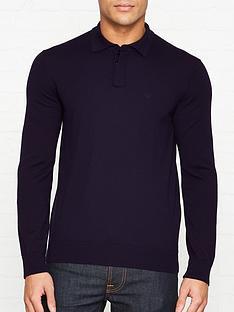 emporio-armani-knitted-logo-motif-polo-shirt-navy