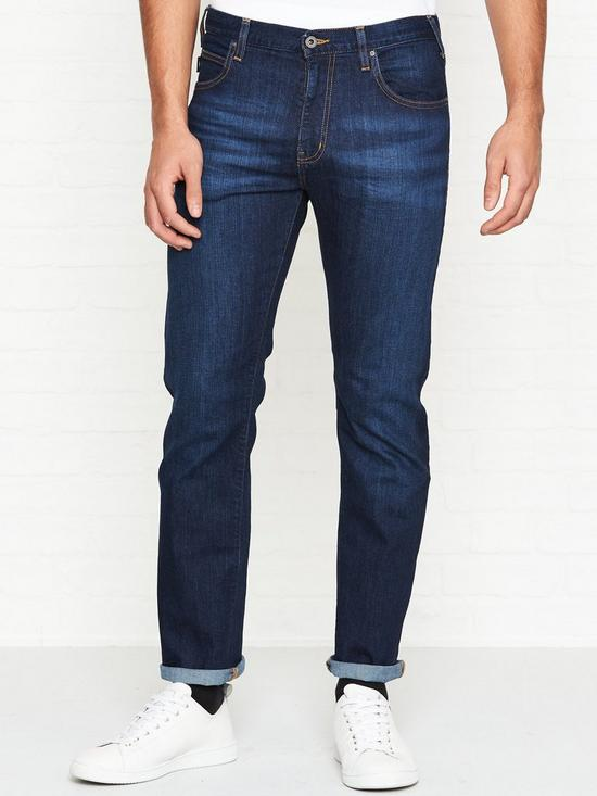 77c1a51c EMPORIO ARMANI J45 Regular Tapered Fit Jeans - Mid Blue | very.co.uk