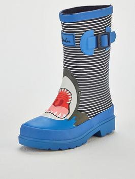 Joules Boys Shark Stripe Welly, Blue, Size 1 Older
