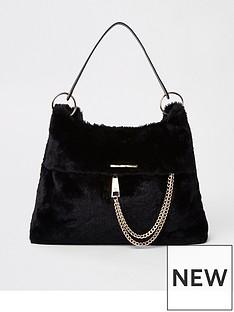 river-island-faux-fur-slouch-bag-black