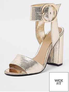 river-island-river-island-wide-fit-buckle-ankle-heel-sandals-gold