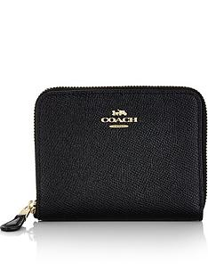coach-small-crossgrain-leather-zip-around-purse-black