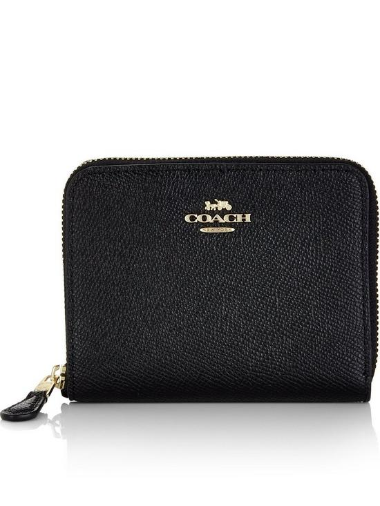 COACH Small Crossgrain Leather Zip Around Purse - Black  9f5b658812f9