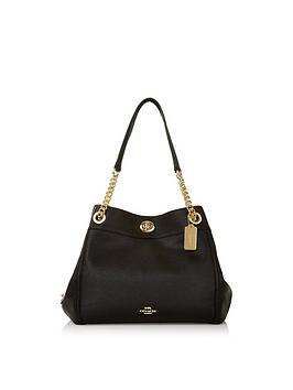 coach-edie-polished-leather-turnlocknbspshoulder-bag-black