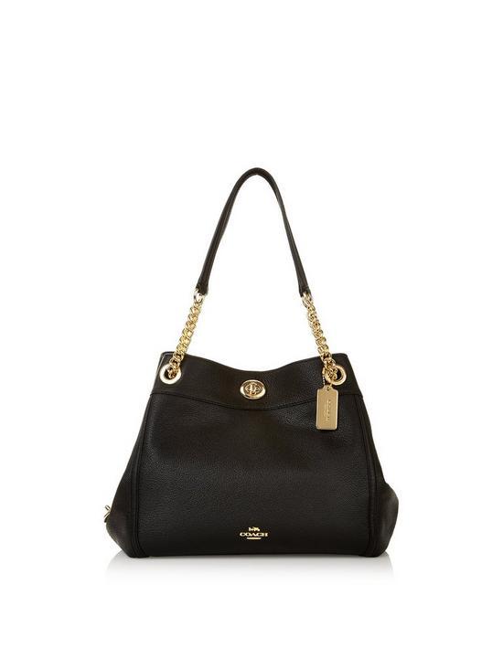 87de238ff0 COACH Edie Polished Leather Turnlock Shoulder Bag - Black
