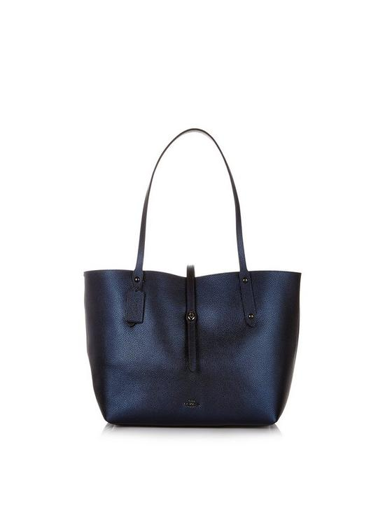 892a1bacb80d COACH Metallic Leather Market Tote - Dark Blue