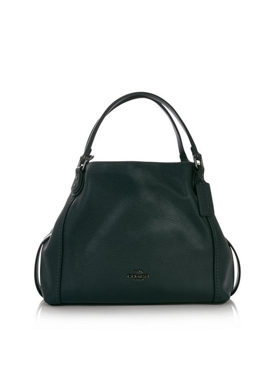 COACH Edie 28 Pebbled Leather Shoulder Bag - Dark Green  e57ed220a7e61