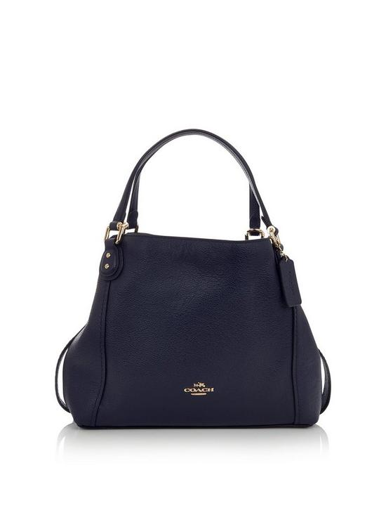 d372ae0e7a54 COACH Edie 28 Pebbled Leather Shoulder Bag - Navy