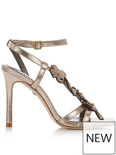 COACH Bianca Embellished Leather Sandals - Bronze 38344e68b7