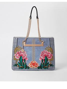 river-island-river-island-chain-handle-embroidered-bag-blue