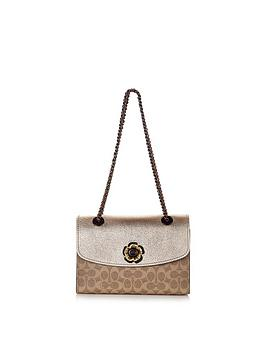 coach-metallic-coated-canvas-signature-parker-shoulder-bag-tan